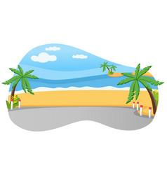 tropical coast palm trees on beach near road on vector image