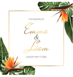 Tropical exotic wedding event invitation card vector