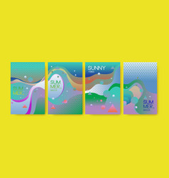 Unique artistic summer cards with bright gradient vector
