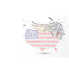 Usa map with american eagle from lines triangles vector