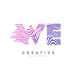 We w e zebra lines letter logo design with vector