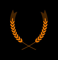 Wheat sign spike spica orange icon vector