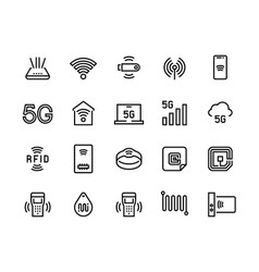 wifi line icons 5g wireless technology and radio vector image