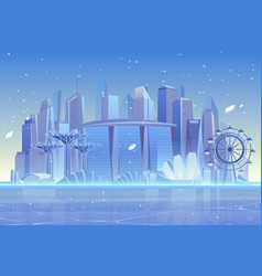 winter city skyline at frozen bay architecture vector image