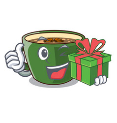 with gift indian masala tea in cartoon cup vector image