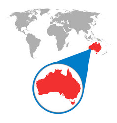 World map with zoom on australia map in loupe in vector