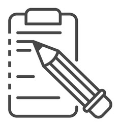 write pencil on clipboard icon outline style vector image