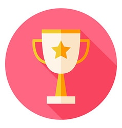 Award Cup with Star Circle Icon vector image