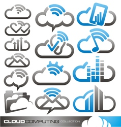 Cloud computing logo design concepts vector image vector image