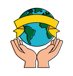 hands human protection with world planet vector image vector image