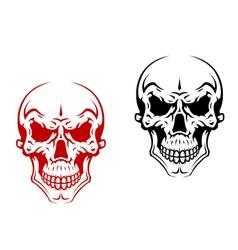 Human skull for horror or halloween vector image