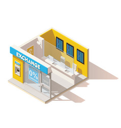 isometric low poly currency exchange vector image