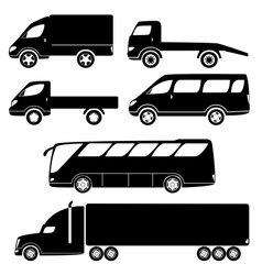 Modern passenger and freight cars silhouettes vector image