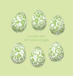pale green easter egg decoration floral vector image