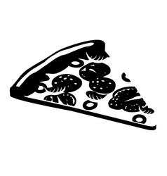 pizza silhouette Piece of Pizza sign flat style vector image