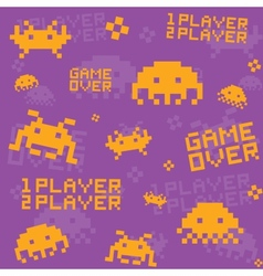 Purple invaders pattern vector image vector image