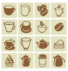 set of coffee and tea icons vector image