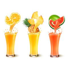 Set of fruit juice splash in a glass orange vector