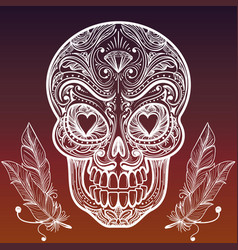 sketched mexican skull and feathers vector image vector image