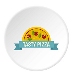 tasty pizza label icon circle vector image vector image