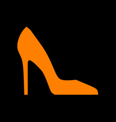 woman shoe sign orange icon on black background vector image