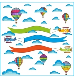 air balloon and airplane composition vector image