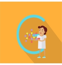 C Letter and Scientist with Chemical Compound vector image vector image