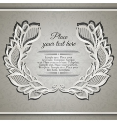 Elegant beije wreath frame with lace floral leaves vector image vector image