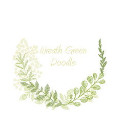 greenery doodle hand drawn floral wreath vector image vector image