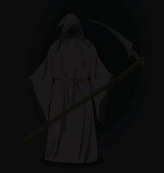 grim reaper with scythe in dark vector image