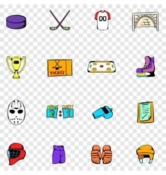 Hockey set icons vector image