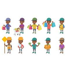 little african boy set vector image
