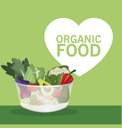 organic food bowl with vegetables vector image
