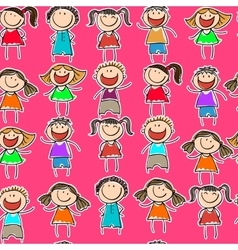seamless pattern with the image of children vector image vector image