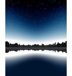 urban skyline night vector image