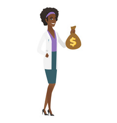 african-american doctor holding a money bag vector image vector image