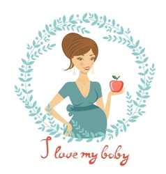 Beautiful mom to be holding apple vector image