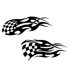 Chequered flag with black flames vector