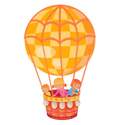 Little kids fly on the big air balloon vector