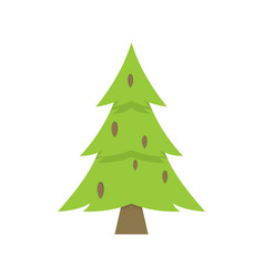lonely green christmas tree iisolated on white vector image