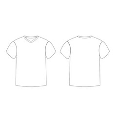 outline countur of male t-shirt template v-neck vector image