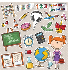 school girl with different education tools vector image vector image