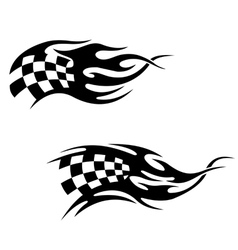 Checkered flag with black flames vector image vector image