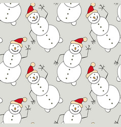 christmas seamless pattern with snowman new year vector image vector image