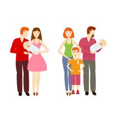 flat cartoon big family characters vector image