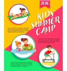 Kids summer camp poster Children playing vector image vector image