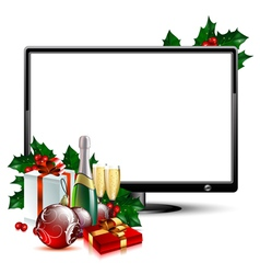 Lcd panel with christmas vector