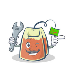 Mechanic tea bag character cartoon vector