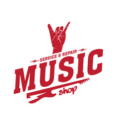 Music service and repair shop i love you language vector