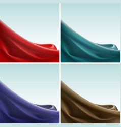 Set of colored silky cloth crease wavy folds vector